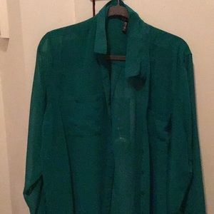 Bright green sheer blouse